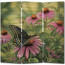 68 x 68 Black Swallowtail Butterfly 3 Panel Room Divider by WGI-GALLERY