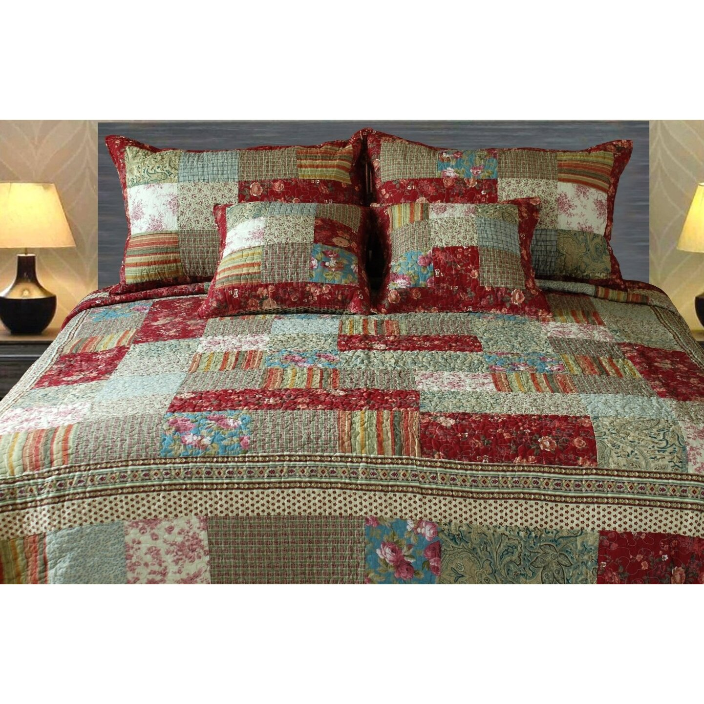 Bed sheet set with quilt - Cotton Charming Fairytale Tea Party Reversible Quilt Set