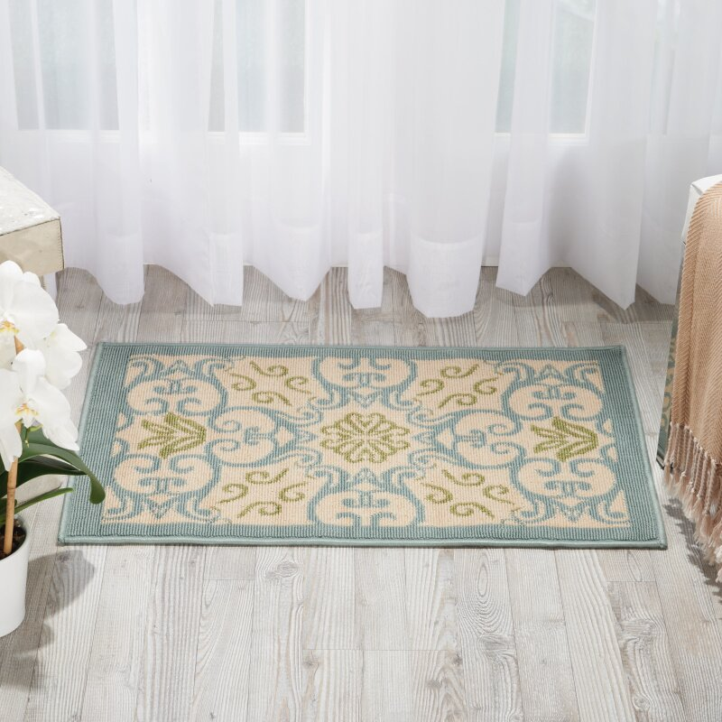 Alcott Hill Carleton Ivory/Blue Indoor/Outdoor Area Rug & Reviews ...