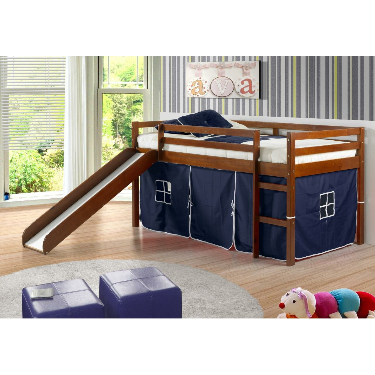 Bunk beds with slide and tent - Tent Twin Low Loft Bed With Slide
