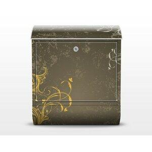 Briefkasten Schnörkel in Gold und Silber mit Zeitungsfach