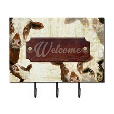 Welcome Cow Leash Holder and Key Hook by Caroline's Treasures