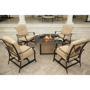 Barryton 5 Piece Aluminum Fire Pit Seating Group With Cushions