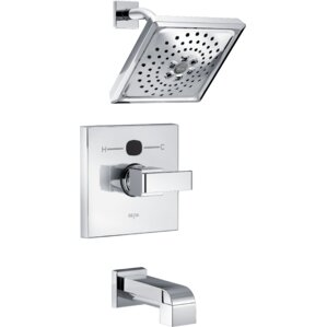 angular modern tub and shower faucet trim