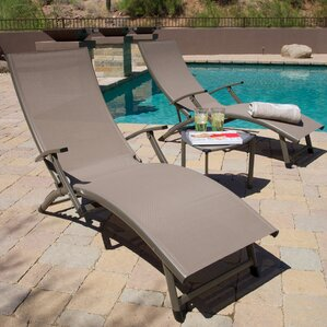 Northridge Folding Chaise Lounge And Table Set