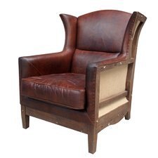 Deconstructed Leather Wing Chair by Melange Home