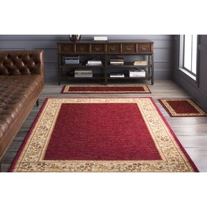 Beautiful Arbus Dark Red/Wheat Area Rug