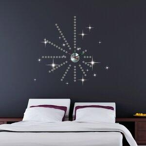 Silver Dot Clock with Swarovski Wall Sticker Set