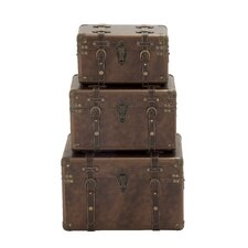 3 Piece Wood and Leather Trunk Set by Cole & Grey