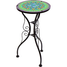 22 Peacock Design Glass and Metal End Table by Trademark Innovations