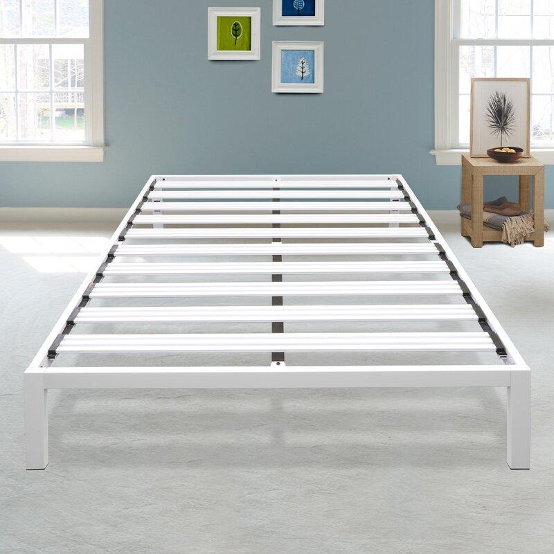 White Platform Bed Frames latitude run hulme white metal platform bed frame | wayfair