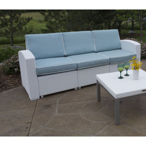 Strata Furniture Cielo Patio Sofa With Cushions U0026 Reviews   Wayfair