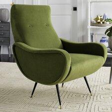 Landgrove Velvet Retro Mid Century Accent Arm Chair by George Oliver