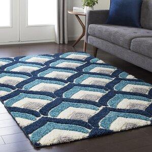 Orpha Soft Patterned Shag Blue/Gray Area Rug