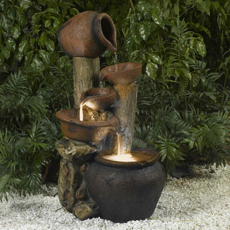 Perfect Resin/Fiberglass Pentole Pot Indoor/Outdoor Fountain With Light