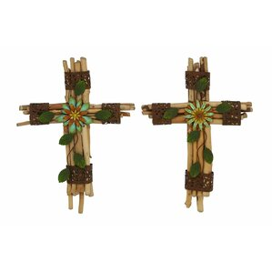 2 Piece Wood/Metal Cross Wall Décor Set (Set Of 2)