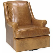 Finnian Leather Swivel Arm Chair by Darby Home Co