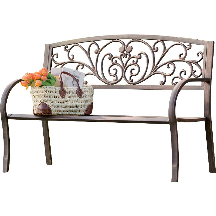 Plow hearth blooming iron garden bench reviews wayfair for D i y garden bench designs