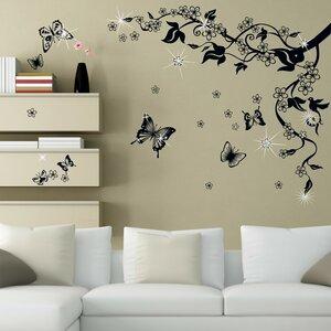 Swarovski with Butterflies Vine Wall Sticker Set