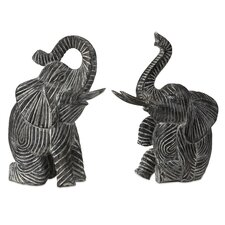 Bakari Wood Carved Elephant 2 Piece Figurine Set