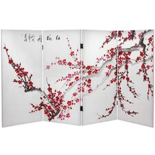 36 x 50.4 Double Sided Plum Blossom 4 Panel Room Divider by Oriental Furniture