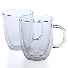 Bistro 15 oz. Glass Coffee Mug (Set of 2)