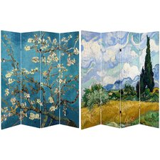 71 x 63 Tall Almond Blossoms / Wheat Field 4 Panel Room Divider by Oriental Furniture