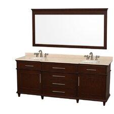 Berkeley 80 Double Dark Chestnut Bathroom Vanity Set with Mirror by Wyndham Collection