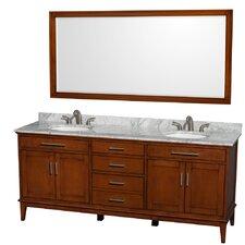 Hatton 80 Double Light Chestnut Bathroom Vanity Set with Mirror by Wyndham Collection