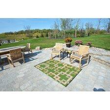 Square Reversible Green/Beige Outdoor Area Rug