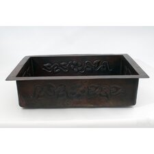 """33"""" x 22"""" Floral Single Well Hammered Copper Drop-in Kitchen Sink"""