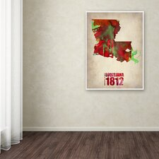 Louisiana Watercolor Map by Naxart Graphic Art on Wrapped Canvas by Trademark Fine Art