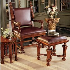 Lord Cumberland's Throne Armchair and Footstool Set by Design Toscano