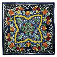 """Quatrefoil 6"""" x 6"""" Hand Painted Talavera Tile"""