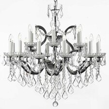 Clemence 18-Light Wrought Iron Crystal Chandelier