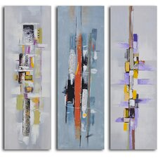 Urban Abstract Triptych' 3 Piece Painting on Wrapped Canvas Set