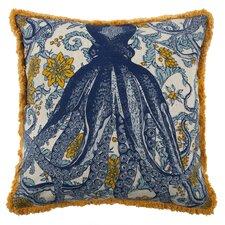 Vineyard Octopus Flax Throw Pillow