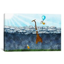 Sharon Giraffe Over The Clouds Children's Painting on Wrapped Canvas