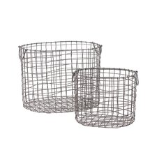 2 Piece Wire Meshed Metal Container Set