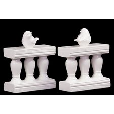 Charming and Adorable Ceramic Bird on Bannister Book Ends (Set of 2)