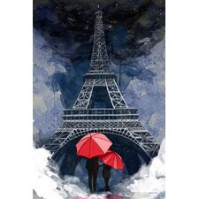 """""""Rainy Night in Paris"""" Graphic Art on Wrapped Canvas"""