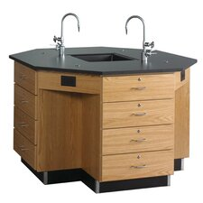 Octagon Workstation with Drawer Base