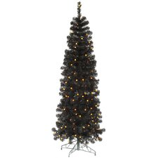 7.5' Black Pencil Artificial Christmas Tree with 250 LED Single Colored Lights