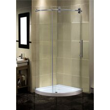 Orbitus 40 x 40 x 75 Completely Frameless Round Shower Enclosure with Base, Right Hand by Aston