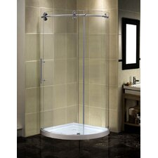 Orbitus 40 x 40 x 75 Completely Frameless Round Shower Enclosure with Base, Left Hand by Aston
