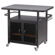 "Bistro 24"" Cabinet with 36"" Granite Top and Black Glass Doors"