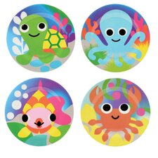 "Ocean 8"" Melamine Kids Plate 4 Piece Set (Set of 4)"