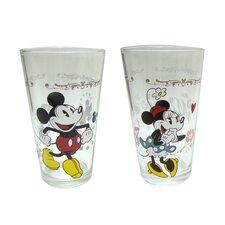 Disney 2 Piece 16 oz. Mickey and Minnie Glass Tumbler Set