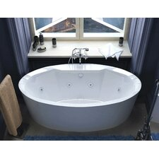 Salina 67.18 x 33.43 Oval Freestanding Air & Whirlpool Water Jetted Bathtub with Center Drain by Spa Escapes