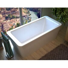 Buena 66.7 x 32 Rectangular Freestanding Air/Whirlpool Jetted Bathtub with Center Drain by Spa Escapes